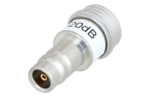 20 dB Fixed Attenuator, QN Male to QN Female Brass Tri-Metal Body Rated to 1 Watt Up to 3 GHz