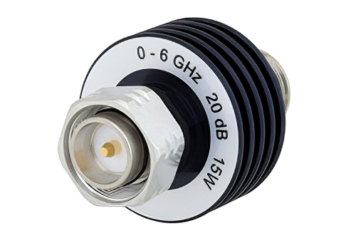 20 dB Fixed Attenuator, 4.3-10 Male to 4.3-10 Female Aluminum Body Rated to 15 Watts Up to 6 GHz