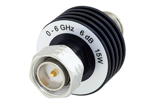 6 dB Fixed Attenuator, 4.3-10 Male to 4.3-10 Female Aluminum Body Rated to 15 Watts Up to 6 GHz