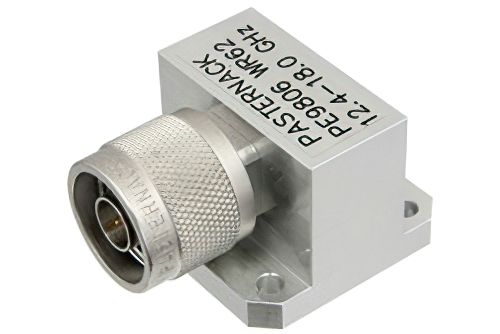 WR-62 Square Cover Flange to N Male Waveguide to Coax Adapter Operating From 12.4 GHz to 18 GHz