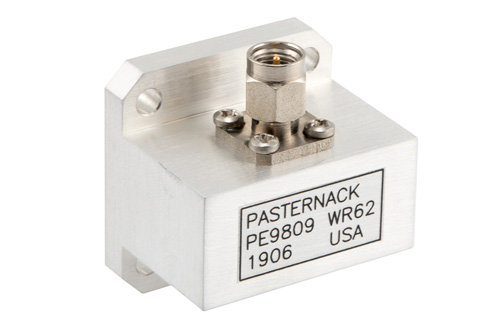 WR-62 UG-1665/U Square Cover Flange to SMA Male Waveguide to Coax Adapter Operating From 12.4 GHz to 18 GHz, Ku Band