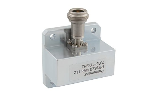 WR-112 Square Type Flange to N Female Waveguide to Coax Adapter Operating From 7.05 GHz to 10 GHz, X Band