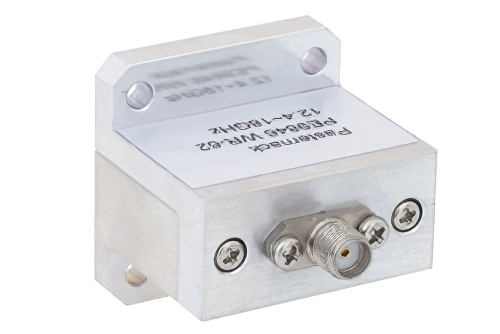 WR-62 Square Type Flange to End Launch SMA Female Waveguide to Coax Adapter Operating From 12.4 GHz to 18 GHz, Ku Band