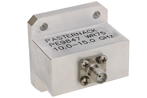 WR-75 Square Type Flange to End Launch SMA Female Waveguide to Coax Adapter Operating From 10 GHz to 15 GHz, X-Ku Band