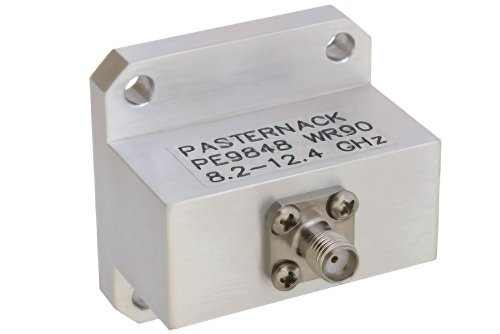 WR-90 Square Type Flange to End Launch SMA Female Waveguide to Coax Adapter Operating From 8.2 GHz to 12.4 GHz, X Band