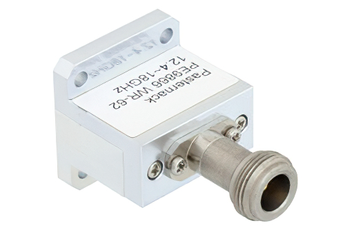 WR-62 Square Type Flange to End Launch N Female Waveguide to Coax Adapter Operating From 12.4 GHz to 18 GHz, Ku Band