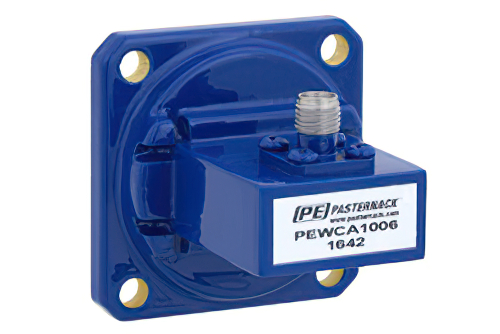 WR-90 UG-39/U Square Cover Flange to SMA Female Waveguide to Coax Adapter Operating From 8.2 GHz to 12.4 GHz, X Band