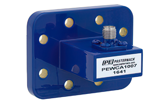 WR-90 CPR-90G Grooved Flange to SMA Female Waveguide to Coax Adapter Operating From 8.2 GHz to 12.4 GHz, X Band
