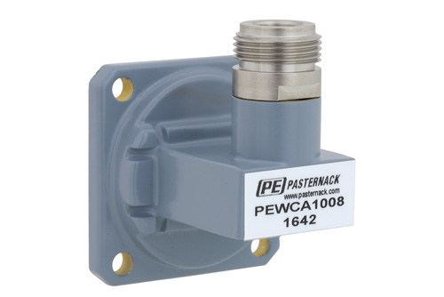 WR-90 UG-39/U Square Cover Flange to N Female Waveguide to Coax Adapter Operating From 8.2 GHz to 12.4 GHz, X Band