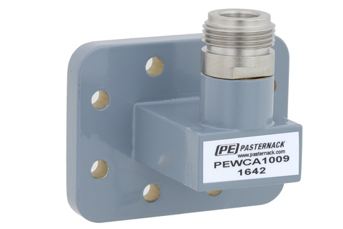 WR-90 CPR-90G Grooved Flange to N Female Waveguide to Coax Adapter Operating From 8.2 GHz to 12.4 GHz, X Band