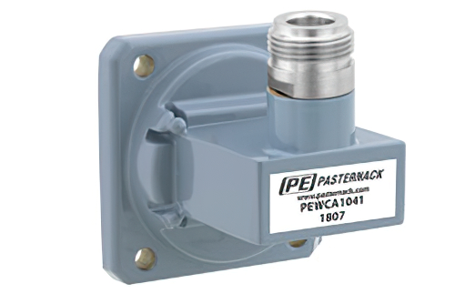 WR-112 UG-138/U Square Cover Flange to N Female Waveguide to Coax Adapter Operating from 7.05 GHz to 10 GHz