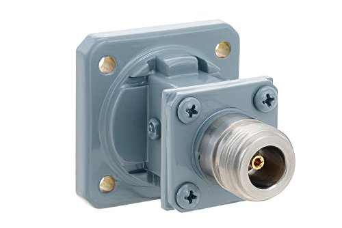 WR-75 Square Cover Flange to End Launch Type N Female Waveguide to Coax Adapter, 10 GHz to 15 GHz, M Band, Aluminum, Paint