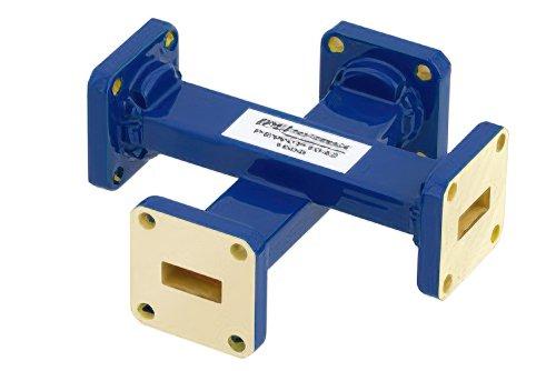 WR-42 Waveguide 50 dB Crossguide Coupler, UG-595/U Square Cover Flange, 18 GHz to 26.5 GHz, Bronze