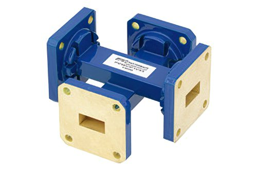 WR-51 Waveguide 20 dB Crossguide Coupler, Square Cover Flange, 15 GHz to 22 GHz, Bronze