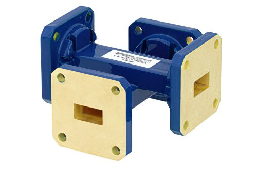 WR-51 Waveguide 30 dB Crossguide Coupler, Square Cover Flange, 15 GHz to 22 GHz, Bronze