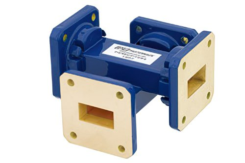 WR-75 Waveguide 50 dB Crossguide Coupler, Square Cover Flange, 10 GHz to 15 GHz, Bronze