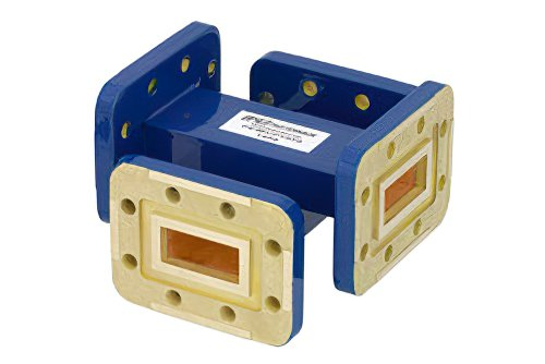 WR-90 Waveguide 20 dB Crossguide Coupler, CPR-90G Flange, 8.2 GHz to 12.4 GHz, Bronze