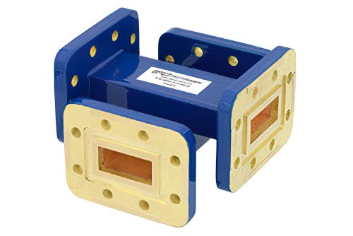 WR-90 Waveguide 50 dB Crossguide Coupler, CPR-90G Flange, 8.2 GHz to 12.4 GHz, Bronze