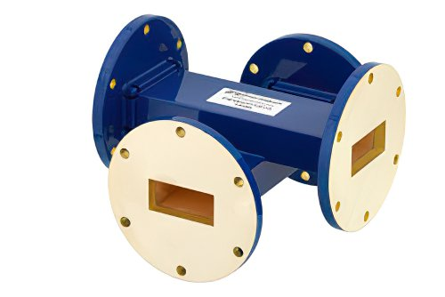 WR-137 Waveguide 30 dB Crossguide Coupler, UG-344/U Round Cover Flange, 5.85 GHz to 8.2 GHz, Bronze