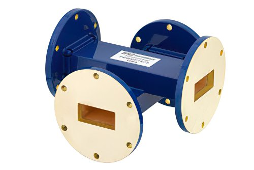 WR-137 Waveguide 40 dB Crossguide Coupler, UG-344/U Round Cover Flange, 5.85 GHz to 8.2 GHz, Bronze