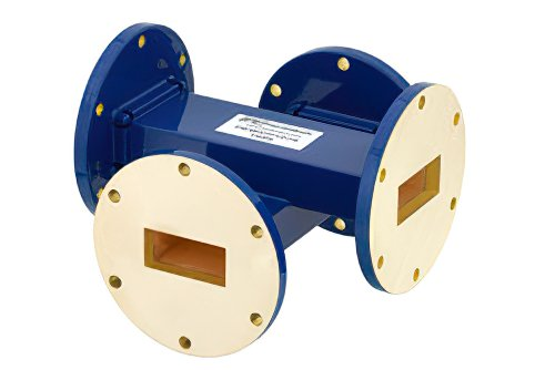 WR-137 Waveguide 50 dB Crossguide Coupler, UG-344/U Round Cover Flange, 5.85 GHz to 8.2 GHz, Bronze