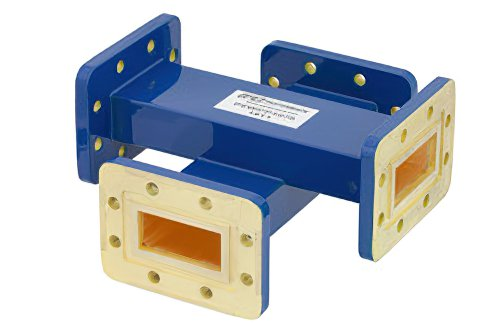 WR-137 Waveguide 50 dB Crossguide Coupler, CPR-137G Flange, 5.85 GHz to 8.2 GHz, Bronze
