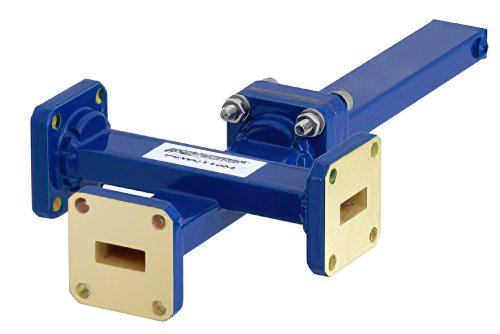 WR-42 Waveguide 20 dB Crossguide Coupler, 3 Port UG-595/U Square Cover Flange, 18 GHz to 26.5 GHz, Bronze