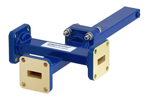 WR-42 Waveguide 30 dB Crossguide Coupler, 3 Port UG-595/U Square Cover Flange, 18 GHz to 26.5 GHz, Bronze
