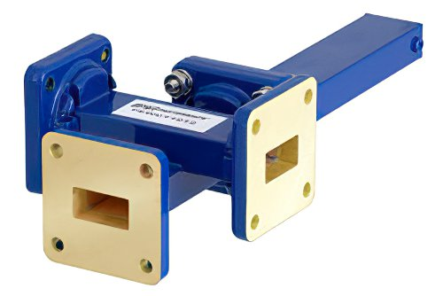 WR-62 Waveguide 20 dB Crossguide Coupler, 3 Port UG-419/U Square Cover Flange, 12.4 GHz to 18 GHz, Bronze
