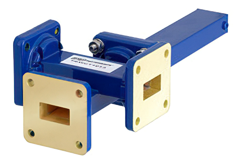 WR-62 Waveguide 30 dB Crossguide Coupler, 3 Port UG-419/U Square Cover Flange, 12.4 GHz to 18 GHz, Bronze