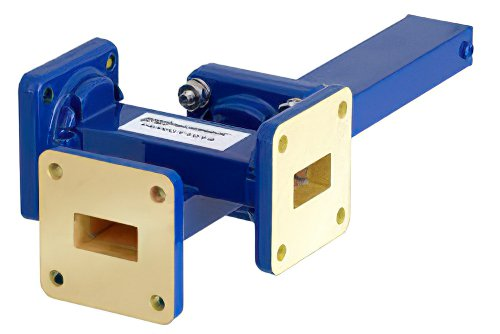 WR-62 Waveguide 40 dB Crossguide Coupler, 3 Port UG-419/U Square Cover Flange, 12.4 GHz to 18 GHz, Bronze