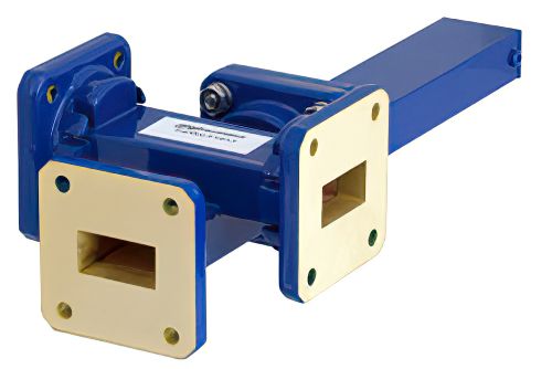 WR-75 Waveguide 30 dB Crossguide Coupler, 3 Port Square Cover Flange, 10 GHz to 15 GHz, Bronze