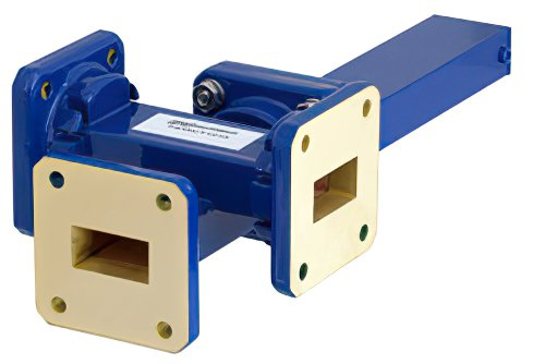 WR-75 Waveguide 40 dB Crossguide Coupler, 3 Port Square Cover Flange, 10 GHz to 15 GHz, Bronze