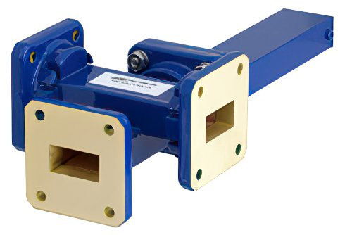 WR-75 Waveguide 50 dB Crossguide Coupler, 3 Port Square Cover Flange, 10 GHz to 15 GHz, Bronze