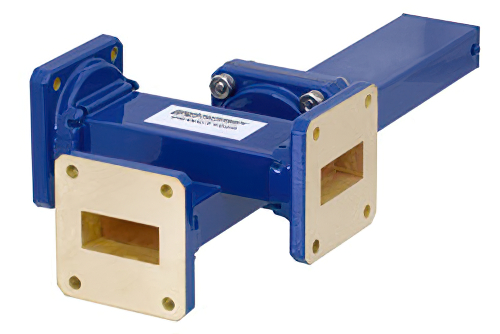 WR-112 Waveguide 30 dB Crossguide Coupler, 3 Port UG-51/U Square Cover Flange, 7.05 GHz to 10 GHz, Bronze