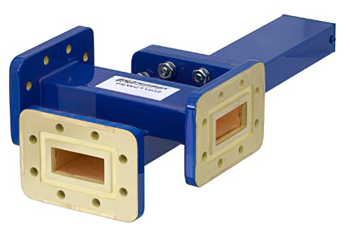 WR-112 Waveguide 20 dB Crossguide Coupler, 3 Port CPR-112G Flange, 7.05 GHz to 10 GHz, Bronze