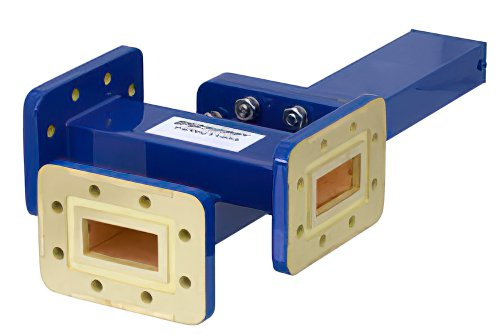 WR-112 Waveguide 40 dB Crossguide Coupler, 3 Port CPR-112G Flange, 7.05 GHz to 10 GHz, Bronze