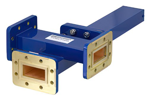 WR-137 Waveguide 20 dB Crossguide Coupler, 3 Port CPR-137G Flange, 5.85 GHz to 8.2 GHz, Bronze