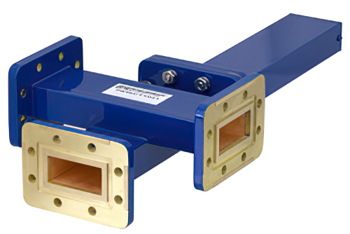 WR-137 Waveguide 30 dB Crossguide Coupler, 3 Port CPR-137G Flange, 5.85 GHz to 8.2 GHz, Bronze