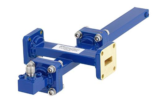 WR-42 Waveguide 20 dB Crossguide Coupler, UG-595/U Square Cover Flange, SMA Female Coupled Port, 18 GHz to 26.5 GHz, Bronze