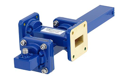 WR-75 Waveguide 20 dB Crossguide Coupler, Square Cover Flange, SMA Female Coupled Port, 10 GHz to 15 GHz, Bronze