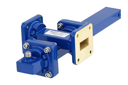 WR-75 Waveguide 30 dB Crossguide Coupler, Square Cover Flange, SMA Female Coupled Port, 10 GHz to 15 GHz, Bronze