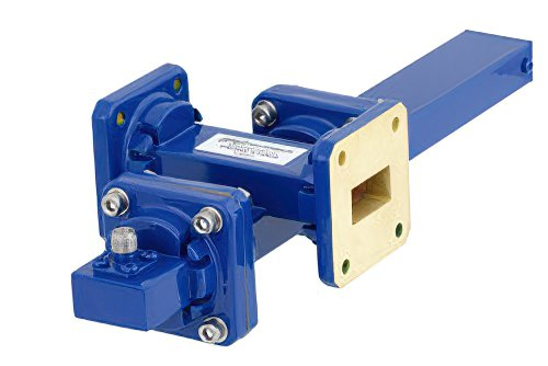 WR-75 Waveguide 50 dB Crossguide Coupler, Square Cover Flange, SMA Female Coupled Port, 10 GHz to 15 GHz, Bronze