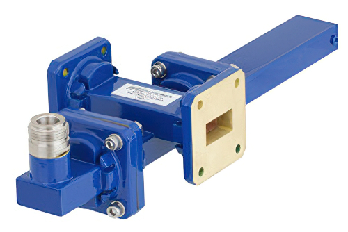 WR-75 Waveguide 20 dB Crossguide Coupler, Square Cover Flange, N Female Coupled Port, 10 GHz to 15 GHz, Bronze
