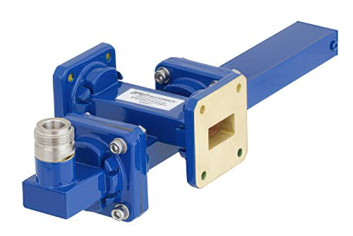WR-75 Waveguide 30 dB Crossguide Coupler, Square Cover Flange, N Female Coupled Port, 10 GHz to 15 GHz, Bronze