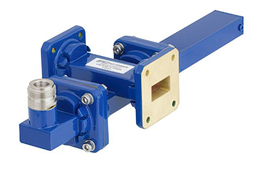 WR-75 Waveguide 40 dB Crossguide Coupler, Square Cover Flange, N Female Coupled Port, 10 GHz to 15 GHz, Bronze