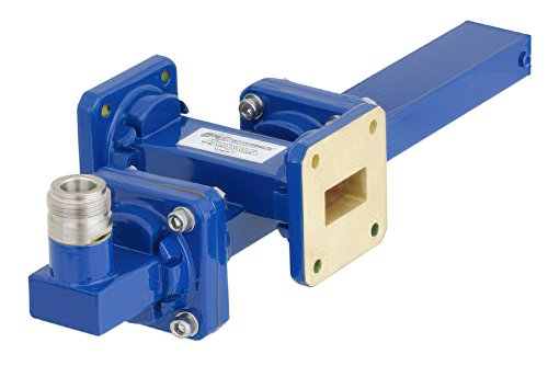 WR-75 Waveguide 50 dB Crossguide Coupler, Square Cover Flange, N Female Coupled Port, 10 GHz to 15 GHz, Bronze