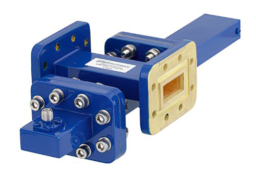 WR-90 Waveguide 30 dB Crossguide Coupler, CPR-90G Flange, SMA Female Coupled Port, 8.2 GHz to 12.4 GHz, Bronze