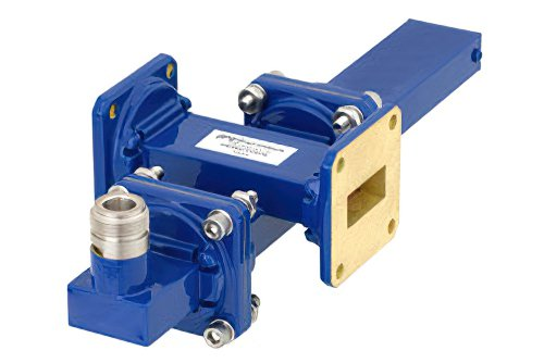 WR-90 Waveguide 20 dB Crossguide Coupler, UG-39/U Square Cover Flange, N Female Coupled Port, 8.2 GHz to 12.4 GHz, Bronze