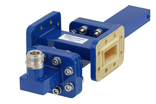 WR-90 Waveguide 20 dB Crossguide Coupler, CPR-90G Flange, N Female Coupled Port, 8.2 GHz to 12.4 GHz, Bronze